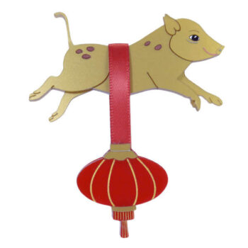 Gertie the Golden Earth Pig and Lantern. Chinese New Year 2019.