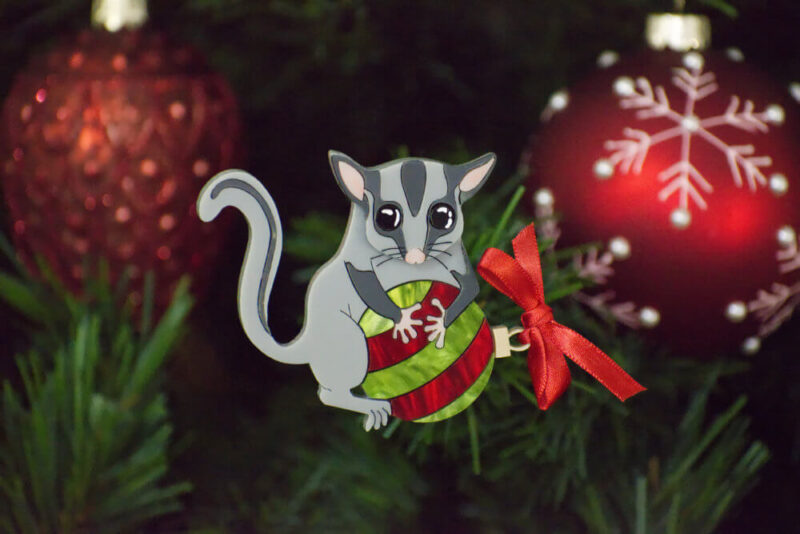 Leadbeater's Possum on a Bauble Brooch