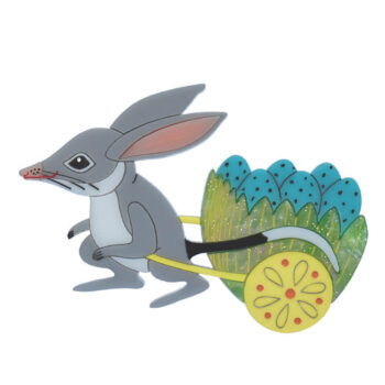 Bilby Express acrylic brooch: Designed and hand painted by Quetzy for our Easter Collection