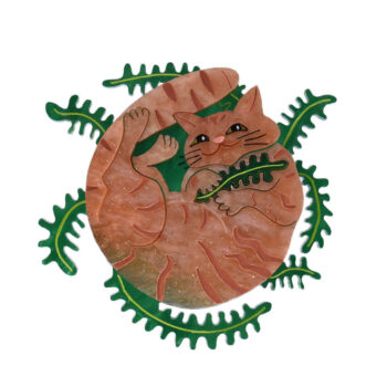 Cats in House Plants, series by Quetzy. 'Feline Fern' acrylic brooch