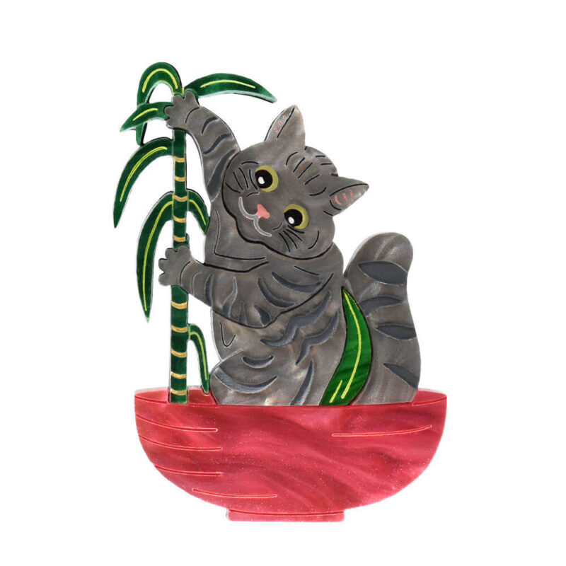 Cats in House Plants, series by Quetzy. 'Unlucky Palm' acrylic brooch