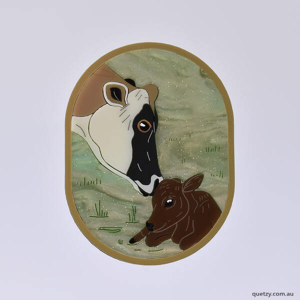 Clarabelle & Valentine. A charity brooch designed and created by Quetzy for Edgar's Mission, animal sanctuary.