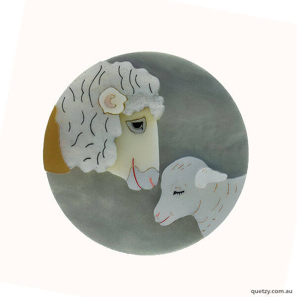 Dexie & Lexie. A charity brooch designed and created for Edgar's Mission, farmed animal sanctuary.