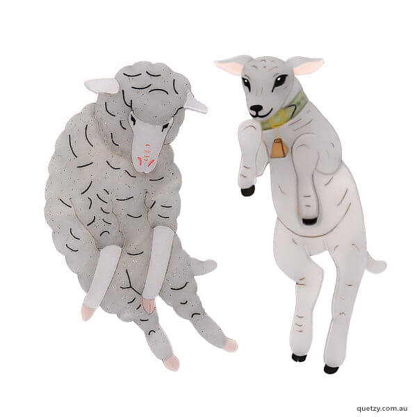 Quetzy charity brooch collection. Ray Ray-Lambini is designed and created for Edgar's Mission, farmed animal sanctuary
