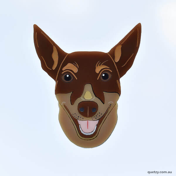 Ruby, the Kelpie. A charity brooch designed and created by Quetzy for Edgar's Mission, animal sanctuary.