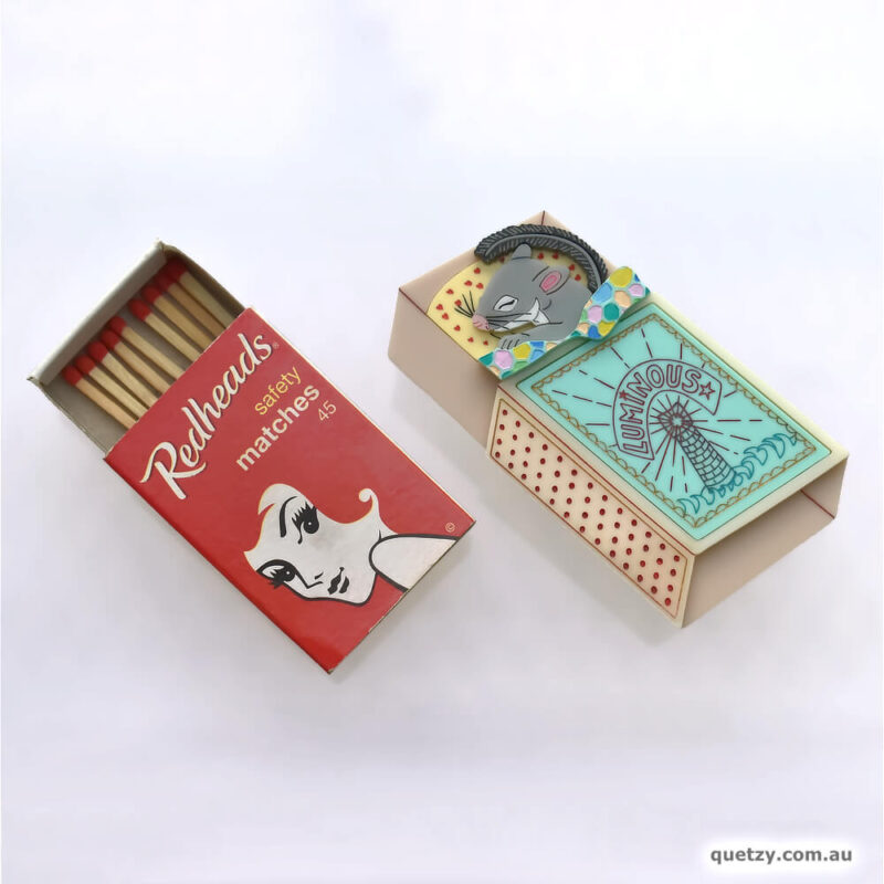 Feathertail Glider in matchbox bed. Handmade acrylic brooch, by Quetzy