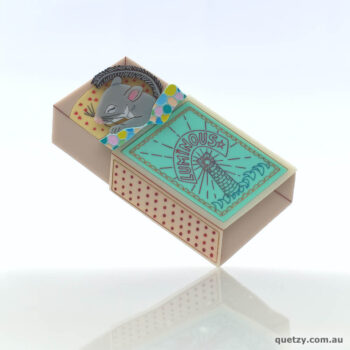 Feathertail Glider in a matchbox bed. Handmade acrylic brooch, by Quetzy