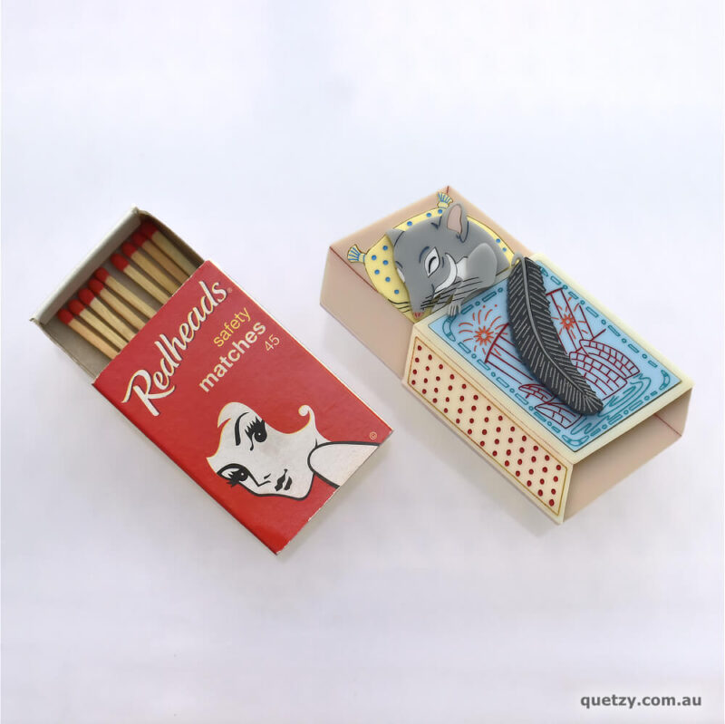 Phascogale Baby in a matchbox bed. Handmade acrylic brooch, by Quetzy