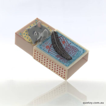 Phascogale Baby in matchbox bed handmade acrylic brooch, by Quetzy