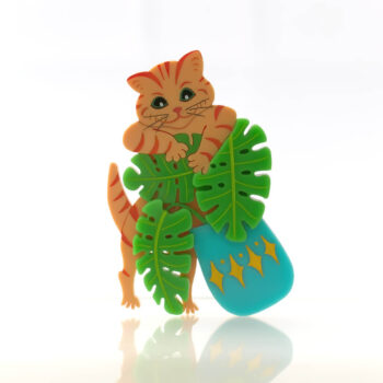 Cats in House Plants, series by Quetzy. 'Mr Potts' acrylic brooch