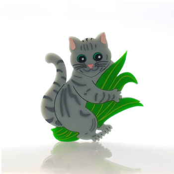 Cats in House Plants, series by Quetzy. 'Saddle Strap' acrylic brooch