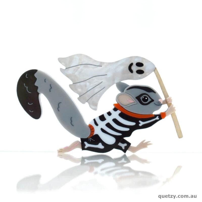 Australian Halloween Squirrel Glider in Skeleton Onesie.