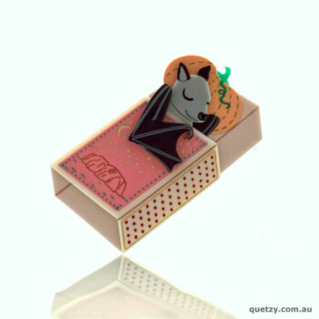 Australian Micro Bat Acrylic Brooch: Halloween Matchbox Tails