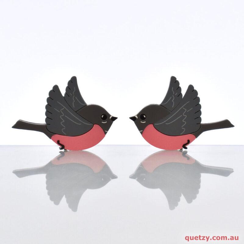 Australian Pink Robin acrylic brooch by Quetzy. Christmas 2019