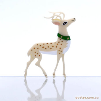 Reindeer brooch in cream acrylic. Christmas 2019