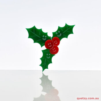 Happy 'Holly' Day. An Australian themed Christmas acrylic brooch.