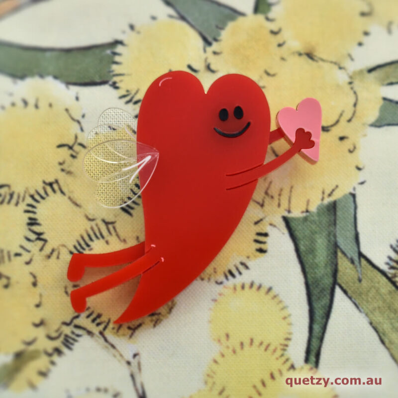 Flying Heart Acrylic Brooch by Quetzy