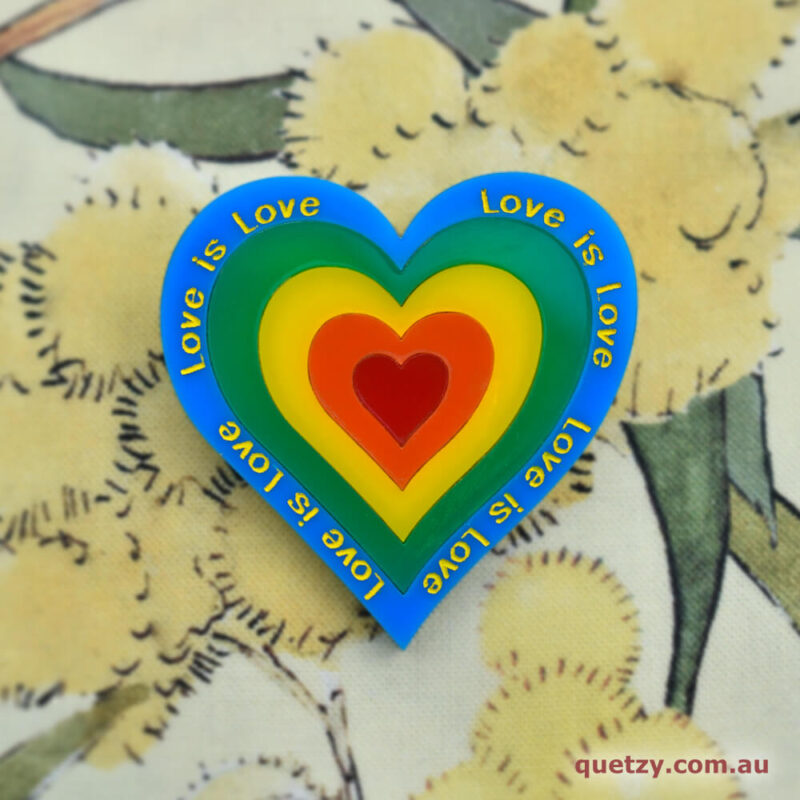 Groovy Love Acrylic Brooch by Quetzy