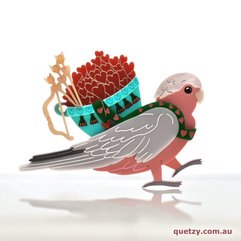 Love Galah with basket full of hearts. Valentine's Brooch Release by Quetzy