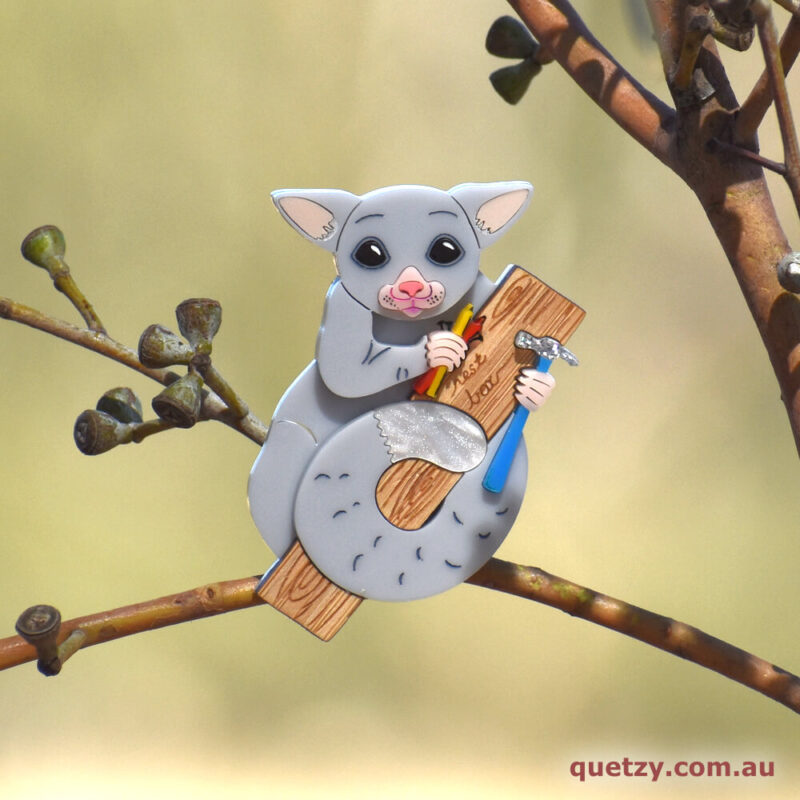 Nest Box Building Brushtailed Possum. Bushfire Recovery Charity Brooch Collection