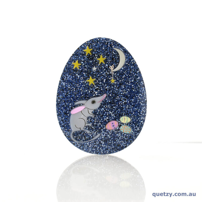 Glitter Bilby Egg in Midnight Blue. Quetzy Mini Easter Brooch Collection.
