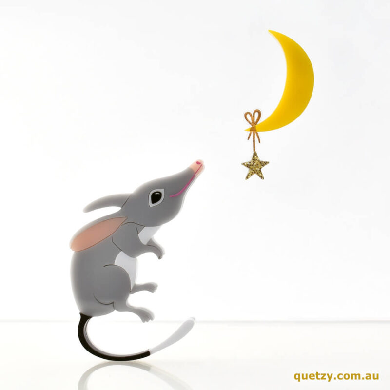 Stargazing Bilby. Part of the Quetzy Mini Easter Brooch Collection.