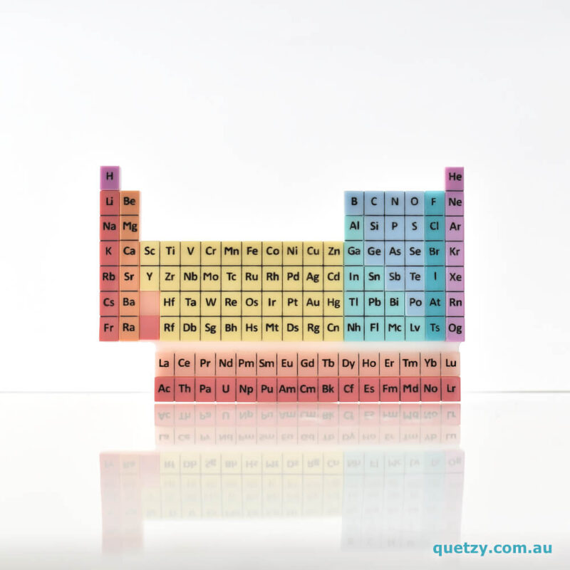 Periodic Table acrylic brooch. Designed, laser cut and handmade by Quetzy.