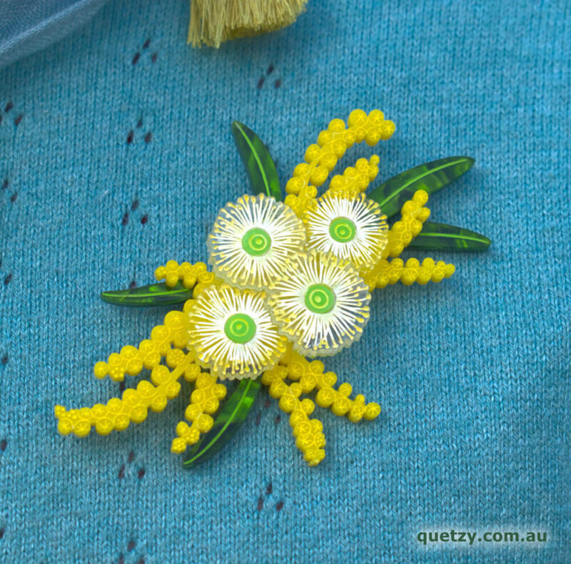 Wondrous Wattle acrylic brooch. Designed, laser cut and handmade by Quetzy.