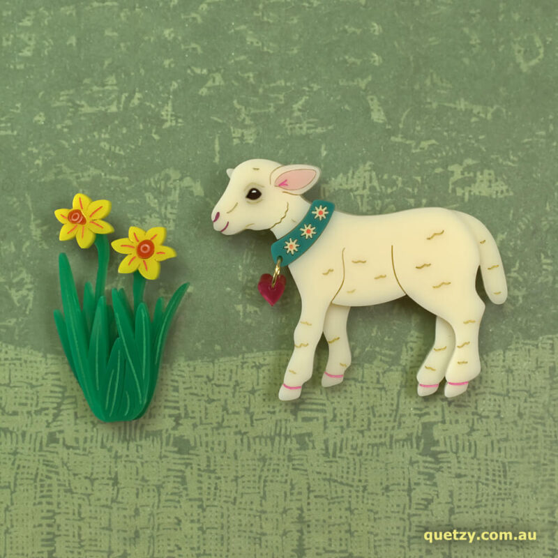 Happy Lamb with separate Daffodil acrylic brooch. Designed, laser cut and handmade by Quetzy.