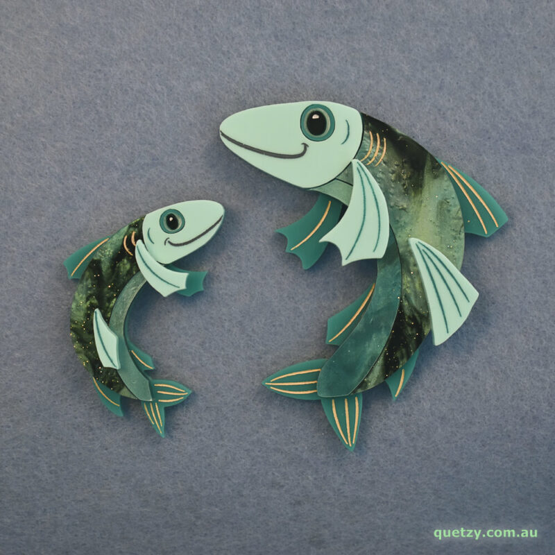 'Phineas' fish acrylic brooch. Designed, laser cut and handmade by Quetzy.