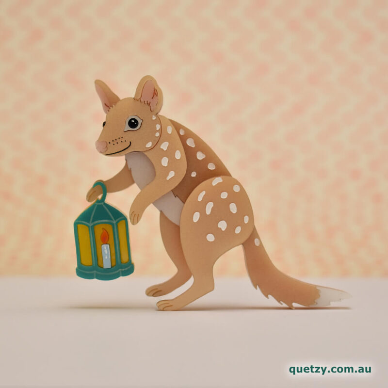 Spotted Tailed Quoll acrylic brooch. Designed, laser cut and handmade by Quetzy.