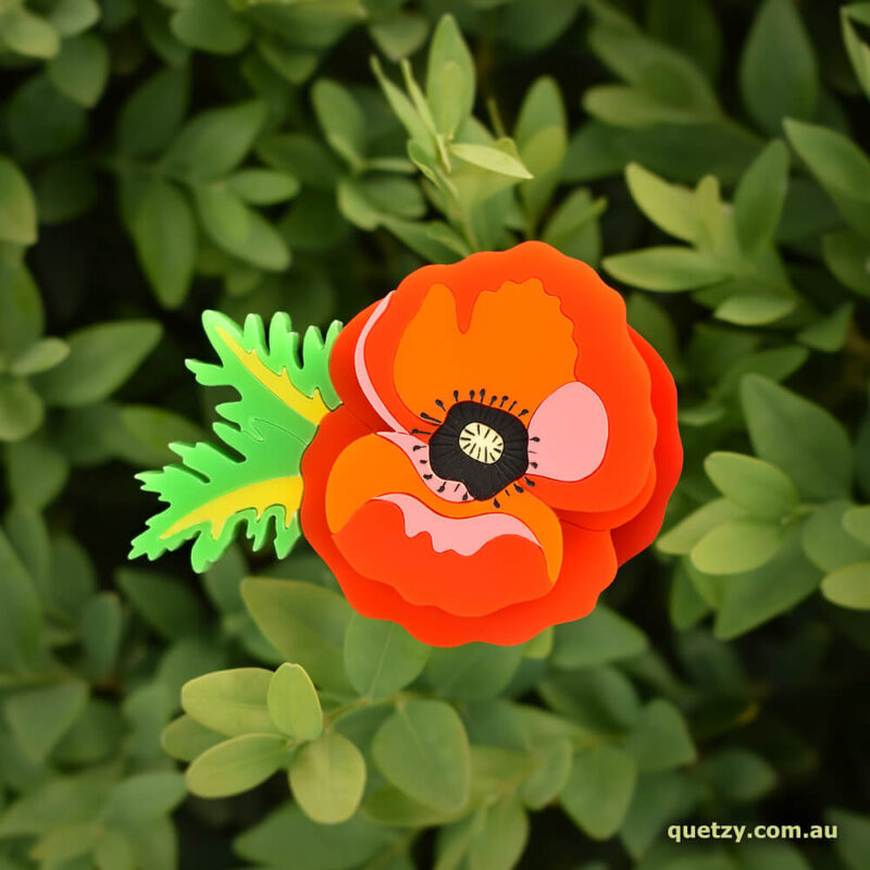 Remembering Poppy acrylic brooch. Designed and handmade by Quetzy.