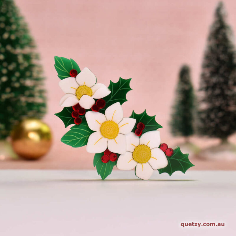 Christmas Rose with Holly & Berries. A botanical themed acrylic brooch, designed and handmade by Quetzy.