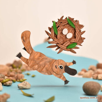 Frolicking Platypus and Leafy Nest acrylic brooch. Designed and handmade by Quetzy.