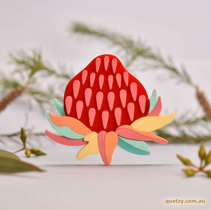 Stylised Mainland Waratah acrylic brooch in pastel colours. Designed and handmade by Quetzy.