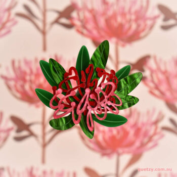 Tasmanian Waratah acrylic brooch in swirly red, pink and green. Designed and handmade by Quetzy.