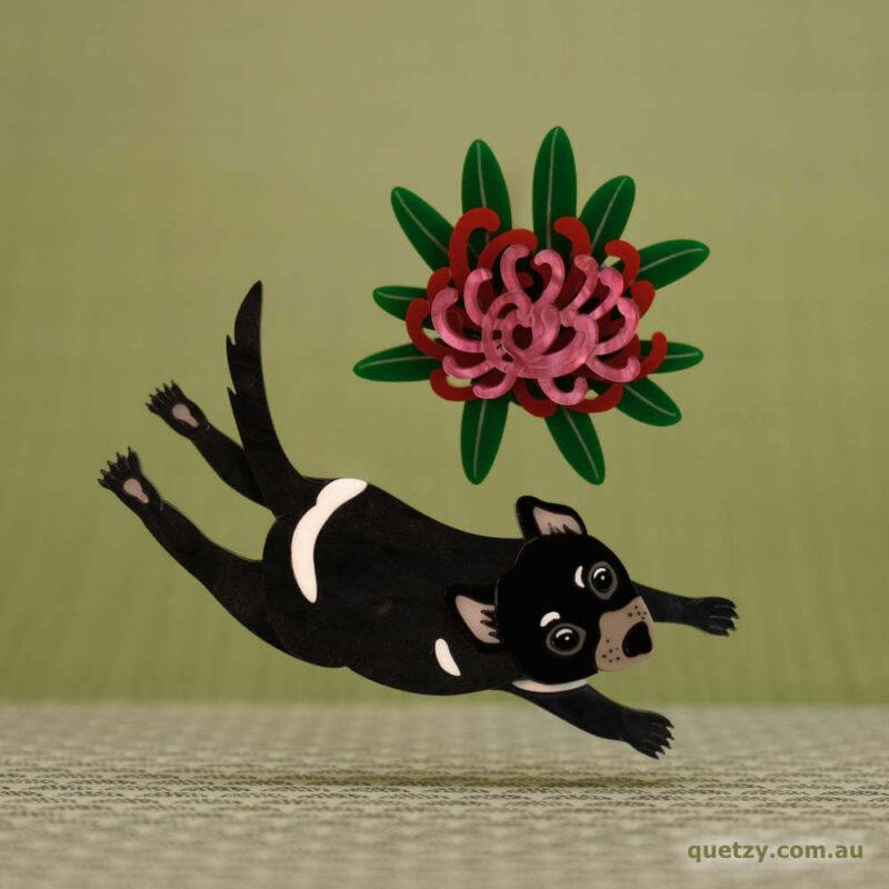 Tasmanian Devil dancing around a Tasmanian Waratah flower. Acrylic brooch designed by Quetzy