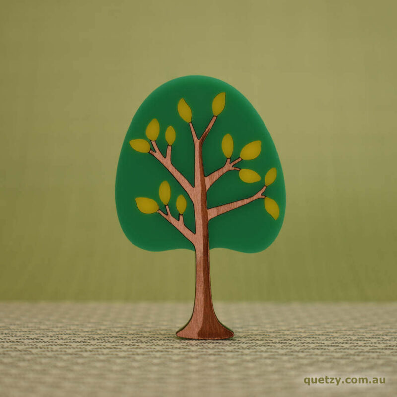 'Twiggy' 1950's inspired acrylic brooch. Round tree in lime soda sunset colour