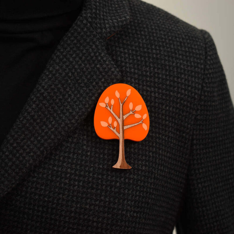 'Twiggy' 1950's inspired acrylic brooch. Round tree in tangerine colour