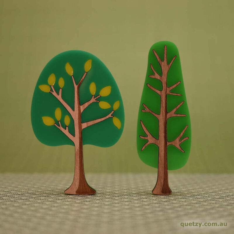 'Twiggy' 1950's inspired acrylic brooches. Round and narrow tree in lime soda sunset and lime soda colour