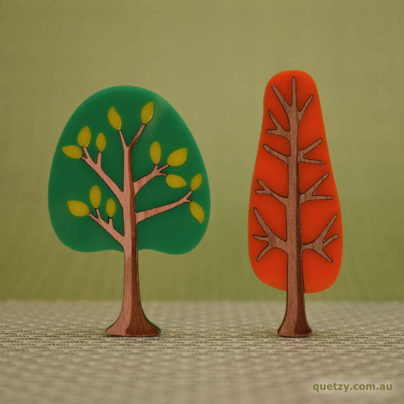 'Twiggy' 1950's inspired acrylic brooches. Round and narrow tree in lime soda sunset and tangerine sunset colour
