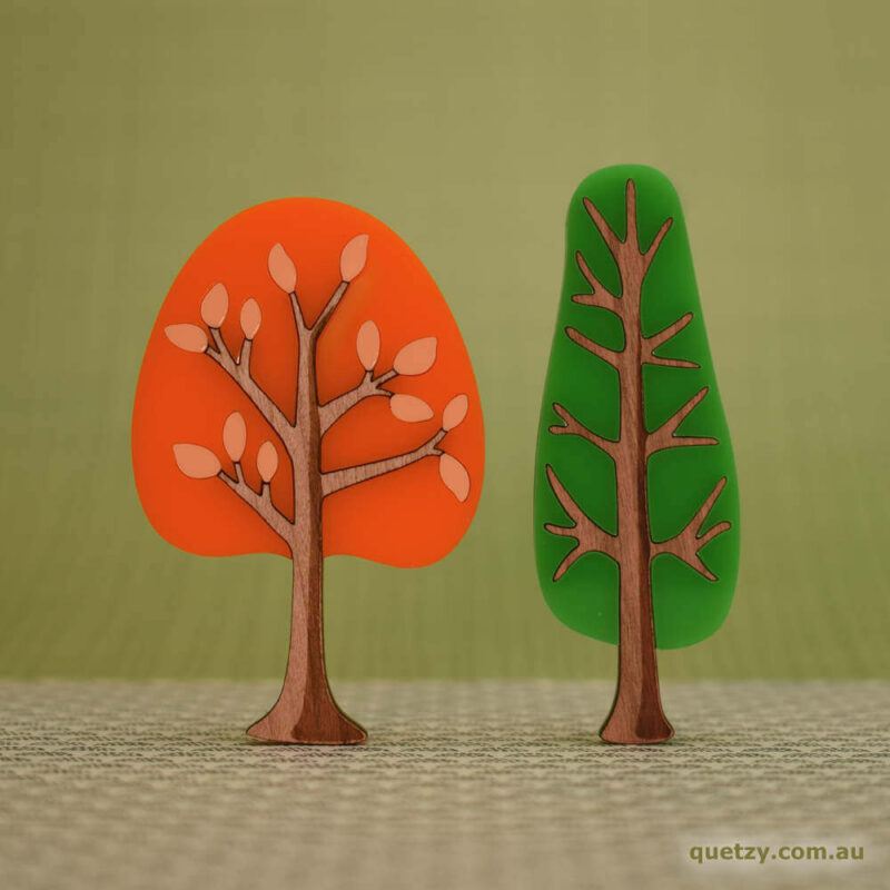 'Twiggy' 1950's inspired acrylic brooches. Round and narrow tree in tangerine and lime soda colour