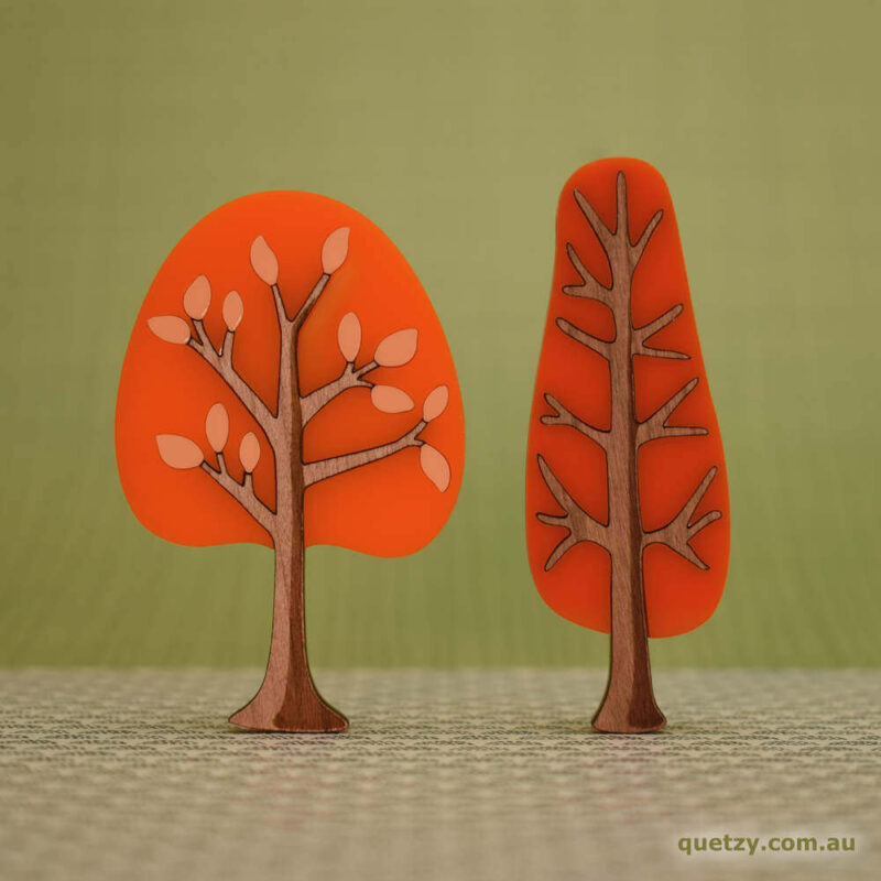 'Twiggy' 1950's inspired acrylic brooches. Round and narrow tree in tangerine and tangerine sunset colour