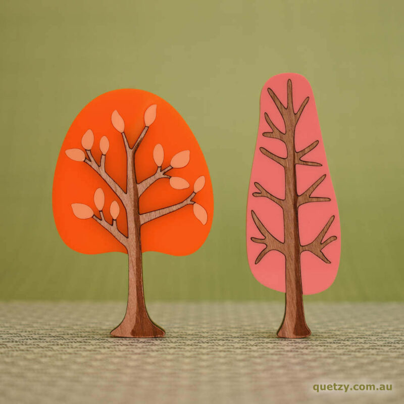 'Twiggy' 1950's inspired acrylic brooches. Round and narrow tree in tangerine and patio pink colour