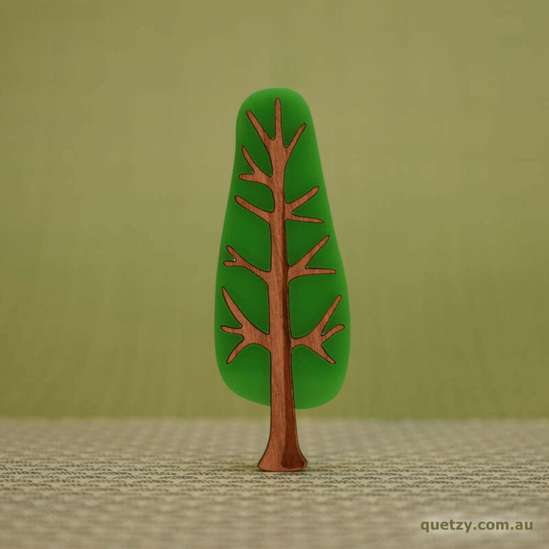 'Twiggy' 1950's inspired acrylic brooch of a narrow tree in lime soda colour