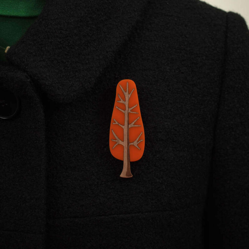 'Twiggy' 1950's inspired acrylic brooch of a narrow tree in tangerine sunset colour