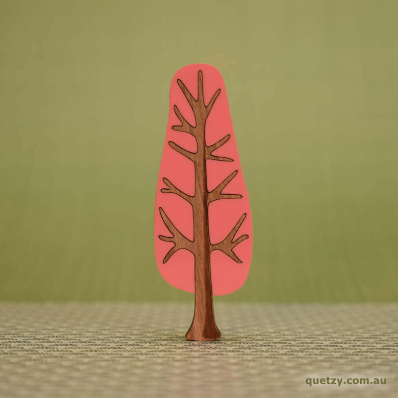 'Twiggy' 1950's inspired acrylic brooch of a narrow tree in patio pink colour