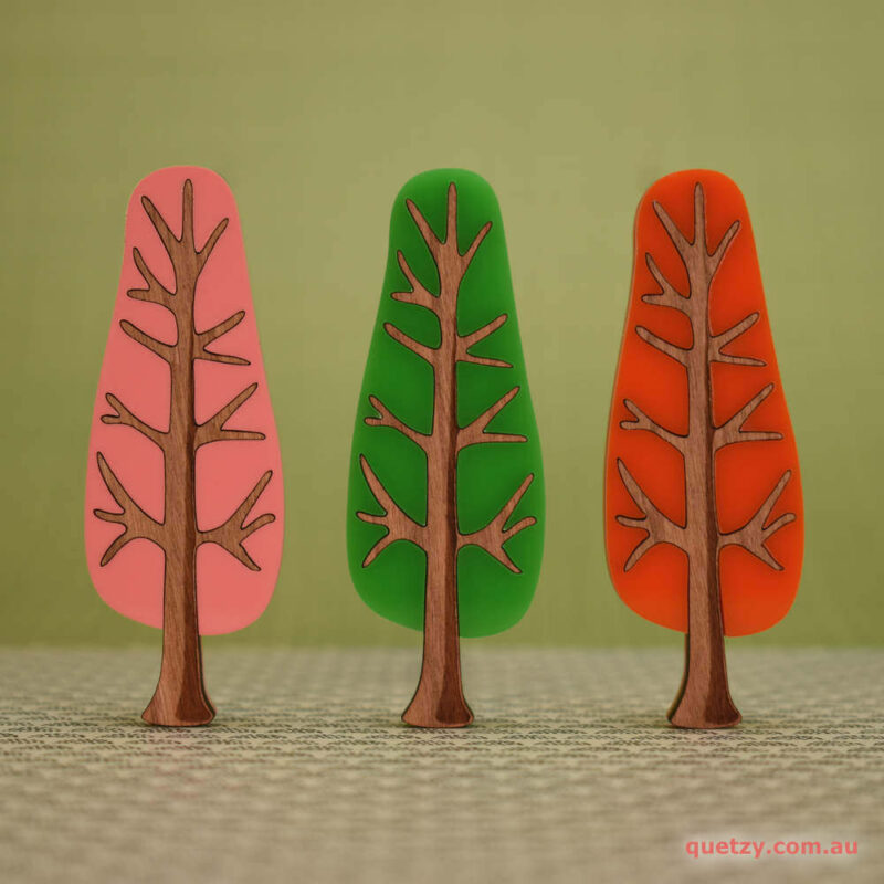 'Twiggy' 1950's inspired acrylic brooch set of narrow trees in patio pink, lime soda and tangerine sunset