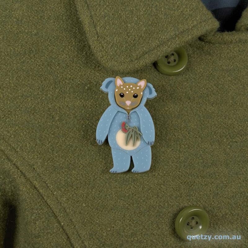 Quoll joey acrylic brooch dressed in a Halloween Koalo suit